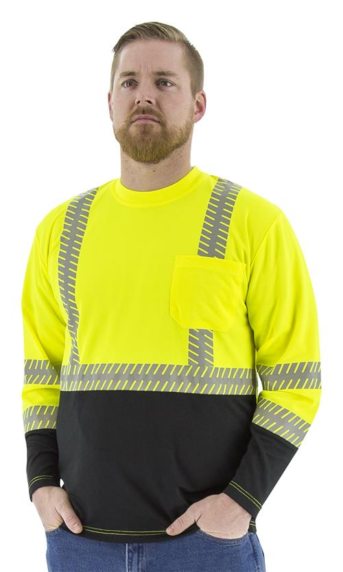 Majestic 75-5257 High Visibility Class 2 Long Sleeve Mesh T-Shirt with Reflective Chainsaw Striping, Hi Vis Yellow, Black Bottom
