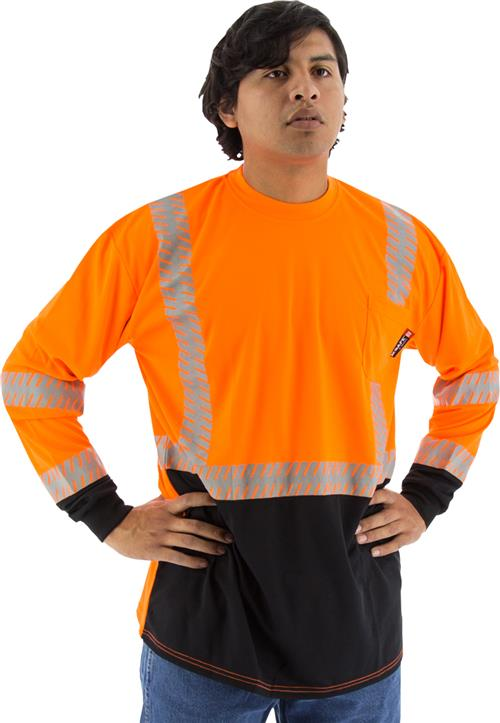 Majestic 75-5258 High Visibility Class 2 Long Sleeve Mesh T-Shirt with Reflective Chainsaw Striping, Hi Vis Orange, Black Bottom