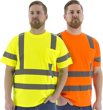 Majestic Hi Vis Class 3 Type R Deluxe Birdseye Mesh Short Sleeve Double Stripe T-Shirt, 75-5305 Yellow or 75-5306 Orange
