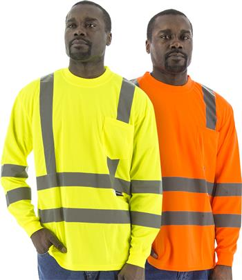 Majestic Hi Vis Class 3 Type R Deluxe Birdseye Mesh Long Sleeve Double Stripe T-Shirt, 75-5355 Yellow or 75-5356 Orange