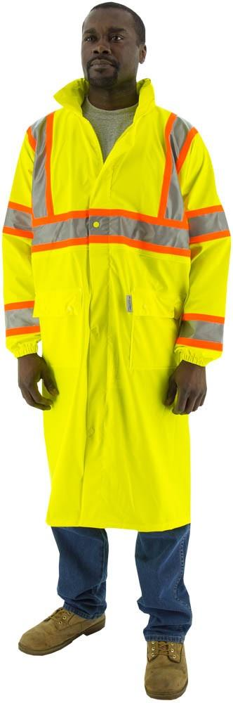 "Majestic 75-7303 High Visibility ANSI Class 3 DOT 48"" Long Rain Coat, Polyester, Breathable, Stretchable, Polyurethane Coated, Waterproof, Unlined, Concealed Hood, Hi Vis Yellow"