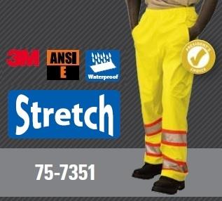 Majestic 75-7351 High Visibility ANSI Class E DOT Rain Pants, Polyester, Breathable, Stretchable, Polyurethane Coated, Waterproof, Unlined, Hi Vis Yellow