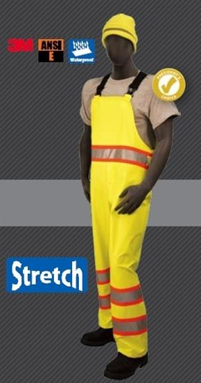 Majestic 75-7353 High Visibility ANSI Class E DOT Rain Bibs, Polyester, Breathable, Stretchable, Polyurethane Coated, Waterproof, Unlined, Hi Vis Yellow