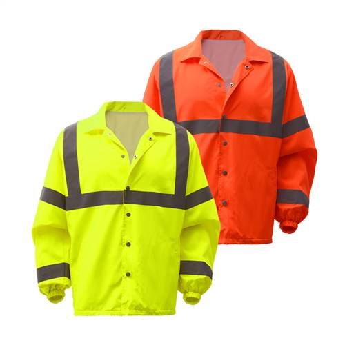 GSS Safety 7501 Standard Class 3 Snap Button Windbreaker Jacket- Lime