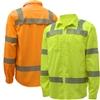 GSS 7505/7506 Onyx Series Hi Vis Yellow Class 3 Long Sleeve Button Shirt, UV Protection, Segmented Reflective Tape, Hi Vis Yellow or Orange
