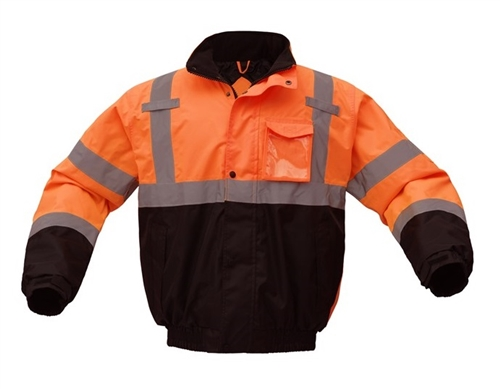 GSS Safety 8002 Class 3 Waterproof Quilt-Lined Bomber Jacket - Orange with Black Bottom