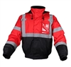 GSS Safety 8014 Enhanced Visibility Waterproof Quilt-Lined Bomber Jacket - Red with Black Bottom