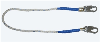 FallTech 8154  4' Rope Restraint Lanyard, Fixed-Length 4' Rope Lanyard with Snap Hooks - Restraint Only
