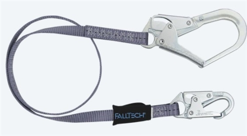 FallTech 82033   3' Web Restraint Lanyard, Fixed-Length 3' Lanyard with Rebar Hook