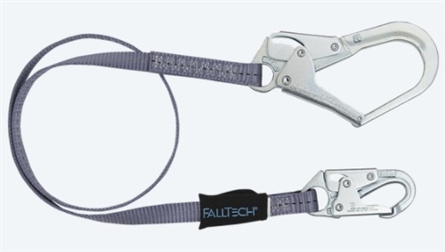 FallTech 82063   6' Web Restraint Lanyard, Fixed-Length 6' Lanyard with Rebar Hook - Restraint Only