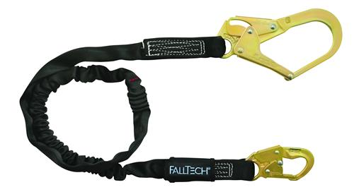 FallTech 82463 Heavyweight Single Leg 6' Lanyard, 1 Snap Hook, 1 Rebar Hook, 425 lbs Capacity, Low Profile Internal Energy Absorber