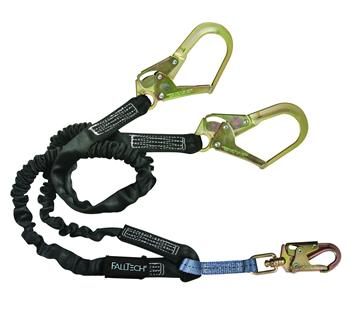 FallTech 8246Y3 Heavyweight Y-Leg 6' Lanyard, Rebar Hooks, 425 lbs Capacity, Low Profile Internal Energy Absorber