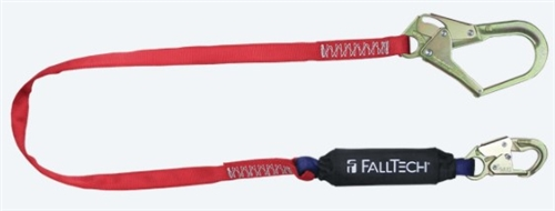 FallTech 8247B3   6' Ironman 12' free fall Energy Absorbing Lanyard, with Steel Rebar Hook