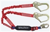 FallTech 8247ELY3D   6' Ironman 12' free fall Energy Absorbing Dual Leg Stretch Lanyard, Double-leg with Steel Rebar Hooks & SRL D-Ring - 100% Tie Off - 4 1/2' - 6' Stretch