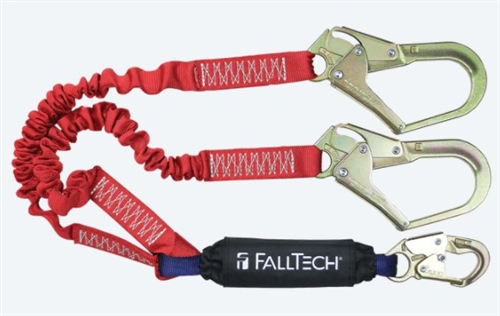 FallTech 8247EY3   6' Ironman 12' free fall Energy Absorbing Dual Leg Stretch Lanyard, Double-leg with Steel Rebar Hooks  - 100% Tie Off - 4 1/2' - 6' Stretch