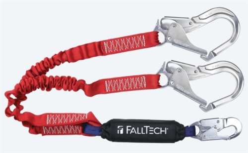FallTech 8247EY3A   6' Ironman 12' free fall Energy Absorbing Dual Leg Stretch Lanyard, Double-leg with Aluminum Rebar Hooks - 100% Tie Off - 4 1/2' - 6' Stretch