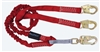 FallTech 8247Y   6' Ironman Internal 12' free fall Energy Absorbing Dual Leg Low Profile Lanyard, Double-leg with Snap Hooks - 100% Tie Off