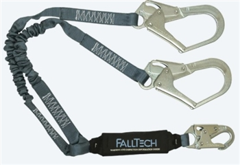 FallTech 8256ELY3   4 1/2' - 6' ViewPack® Energy Absorbing Stretch Y Lanyard, Dual leg with Steel Rebar Hooks