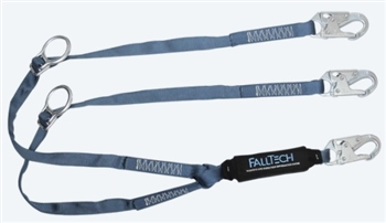 FallTech 826082D   6' ViewPack Tie-Back Energy Absorbing, Dual leg Lanyard with Snap Hooks