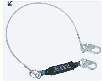 FallTech 8357   6' ViewPack® Energy Absorbing Cable Lanyard, Single leg with Steel Snap Hooks