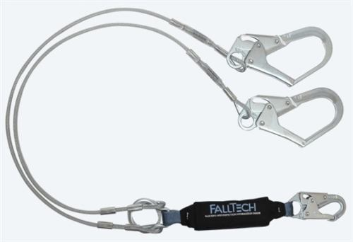 FallTech 8357Y3   6' ViewPack® Energy Absorbing Y Cable Lanyard, Dual leg with Steel Rebar Hooks
