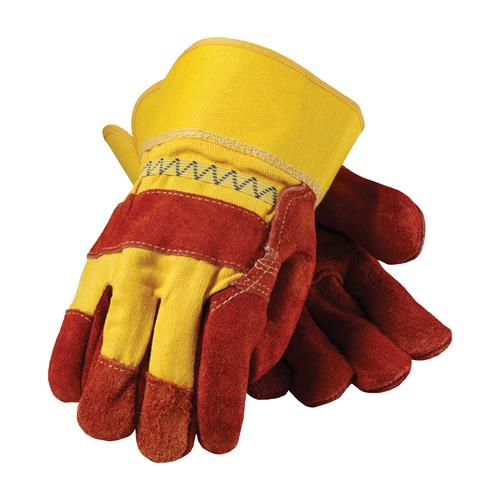 Economy Grade Shoulder Split Cowhide Leather Palm Glove with Hi-Vis Fabric Back - Rubberized Safety Cuff