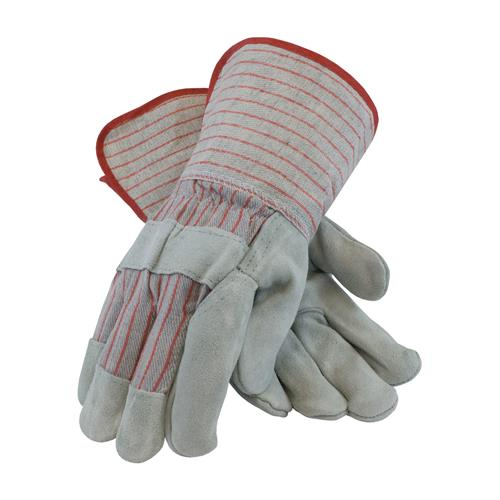"PIP 85-7612S ""B/C"" Grade Shoulder Split Cowhide Leather Palm Glove with Fabric Back - Starched Gauntlet Cuff - Box/12 Pairs"
