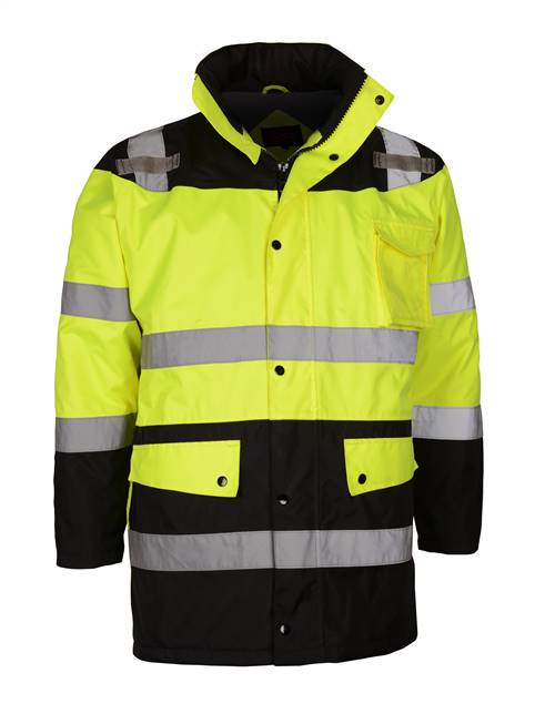 GSS Safety 8501 Class 3 Waterproof Fleece-Lined Parka Jacket - Lime with Black Bottom