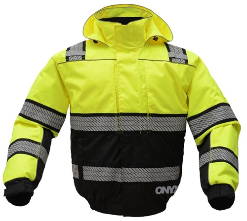 GSS Safety 8511 ONXY Class 3 Rip stop 3-N-1 Teflon Protection Winter Bomber Jacket w/Segment Tape-Lime