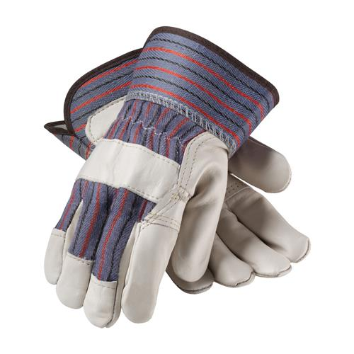 Economy Grade Top Grain Cowhide Leather Reinforced Palm Glove with Fabric Back - Safety Cuff
