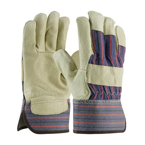 PIP 87-3501/L  Economy Grade Top Grain Pigskin Leather Palm Glove with Fabric Back - Safety Cuff - Large - Box/12 Pairs