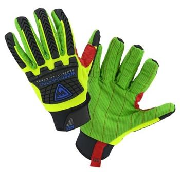 West Chester 87800 R2 Hi Vis Green Cotton Corded Palm Rigger Gloves, TPR Impact Protection, ANSI Cut Level A2 , Box/ 3 Pairs