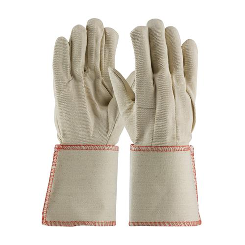 PIP 90-910GA  Premium Grade Cotton Canvas Single Palm Glove - Plasticized Gauntlet Cuff - Box/12 Pairs