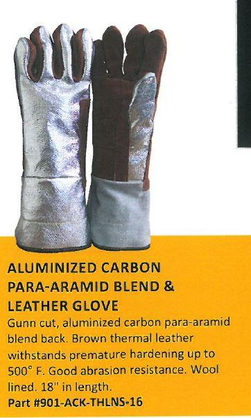 "CPA Chicago Protective Apparel 901-ACK-THLNS 16"" Gunn Cut Glove, Aluminized Carbon Kevlar Back and Thermal Leather Palm, Pair"