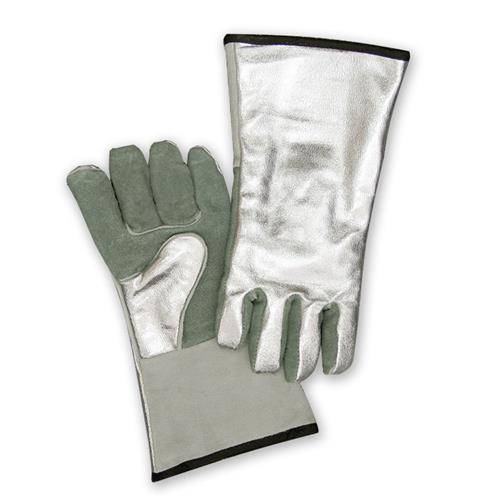 "CPA Chicago Protective Apparel 901-Alum 14"" Gunn Cut Glove, Aluminized 15 oz. Rayon Back and Split Leather Palm"
