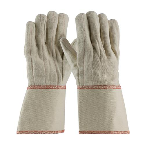 PIP 92-918GO  Cotton Canvas Double Palm Glove with Nap-out Finish - Gauntlet Cuff  - Box/12 Pairs