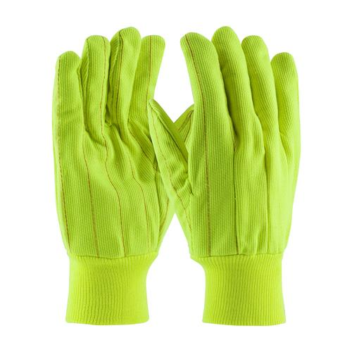 PIP 92-918PCY  Hi-Vis Cotton / Polyester Double Palm Glove with Nap-in Finish - Knitwrist  - Box/12 Pairs