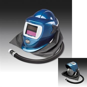 Allegro 9904-DW Deluxe SAR Supplied Air Shield & Welding Helmet (Blue) with Low Pressure Flow Adapter (OBAC Fitting) & ADF Lens, ANSI Z89.1 Type 1 Class G Certified Head Protection & Face Shield, NIOSH Approved