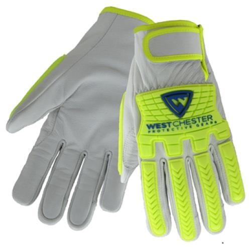 West Chester 9916 Premium Grain Goatskin Drivers Gloves, TPR Hi Vis Impact Protection, ANSI Cut Level A7, Pair