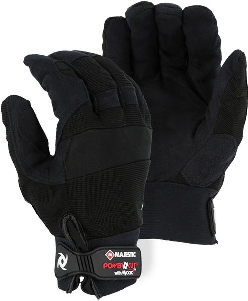 Majestic A2B37B Power Cut with Alycore Gloves - 4 Layers in Palm - 2 Layers in Fingers - Black - 1 Pair