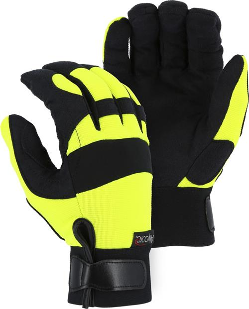 Majestic A4B37Y Power Cut with Alycore Gloves - 8 Layers on Palm - 4 Layers in Fingers - Hi Vis Yellow - 1 Pair
