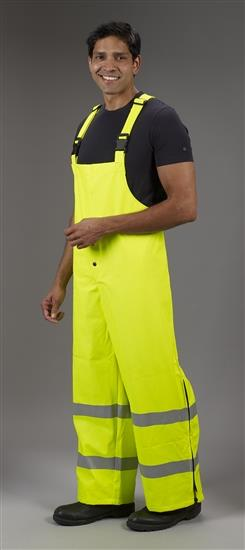 Lakeland ABPU10LYZ Hi Vis Arc Tech Premium Polyurethane FR/Arc Rated, Waterproof Rain Bib Overall, ANSI 107-2010 Class E, ASTM Arc & Flash Rated