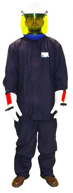 Chicago Protective Apparel AG12 Arc Flash Kit, 12 Cal Navy Ultra Soft Jacket, Bib, Shield and Gloves HRC2