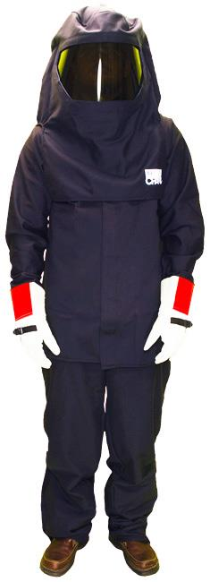 Chicago Protective Apparel AG43 Arc Flash Kit, Navy Ultra Soft Jacket, Bib, Hood and Gloves 43 Cal HRC4