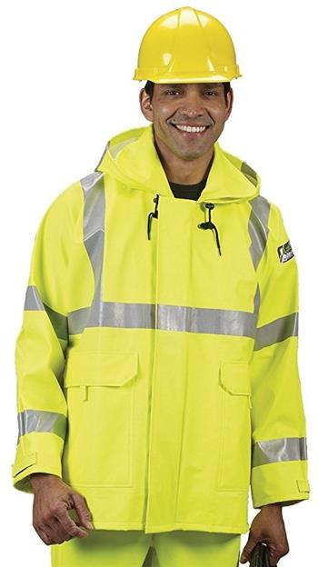Lakeland AJPVC10LY PVC Arc Tech Hi Vis Class 3 Rain Jacket for Arc Flash & Flash Fire