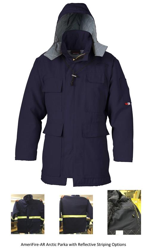 AmeriFire-AR Arctic16 Parka Indura Arc Rated FR Arctic Navy Parka with Options