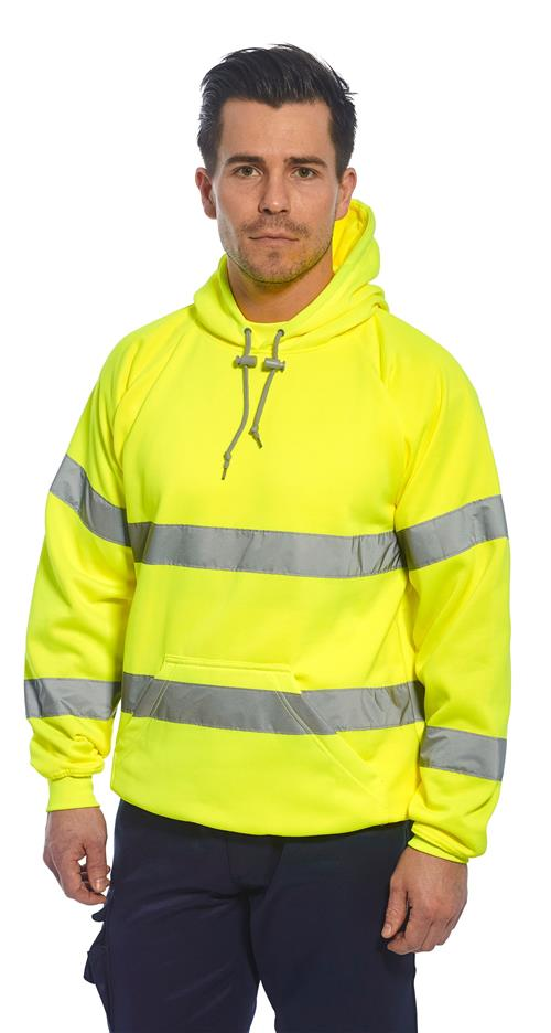 Portwest B304 Class 3 Hi Vis Hooded Sweatshirt, Hi Vis Yellow