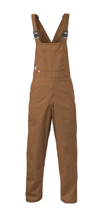 Saf-Tech BO16 Unlined FR Bib, 9 oz Indura, 100% Cotton, Arc Rated, 11.5 cal, 70E and 2112 Compliant, Made in USA, Duck Brown