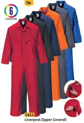 Portwest C813 Liverpool Zipper Coverall, 7 oz. Kingsmill, 6 Color Options