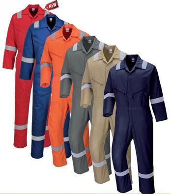 Portwest C814 Iona 100% Cotton Coverall with Silver Reflective Tape, 6 Color Options